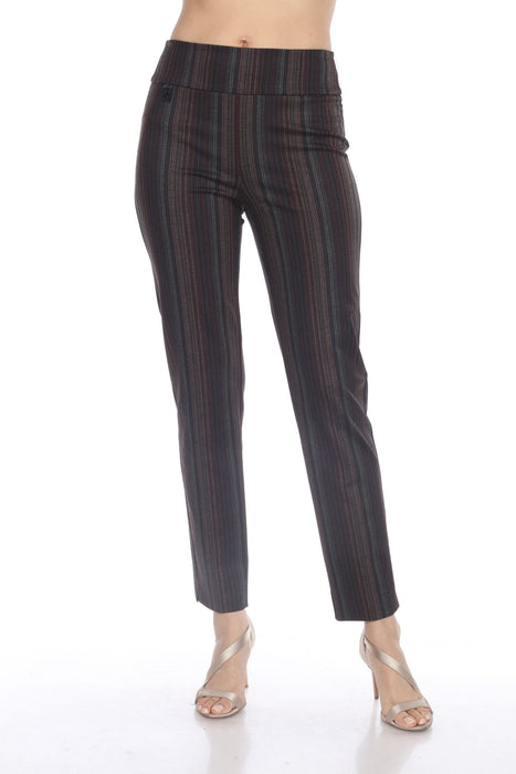 Joseph Ribkoff Style 204044 Black/Multi Striped Slip-On Ankle Pants