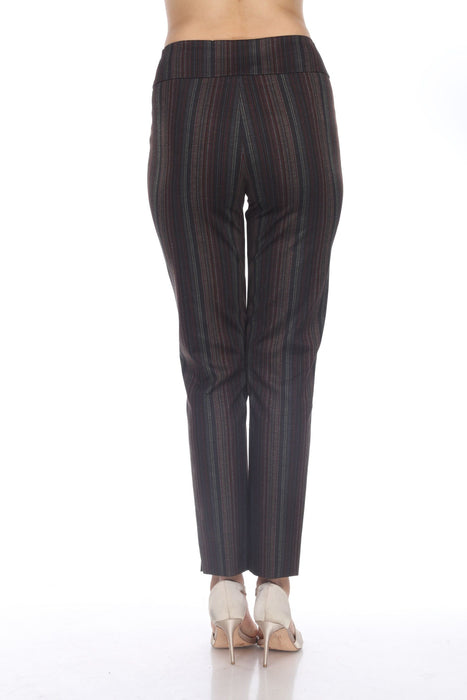 Joseph Ribkoff Black/Multi Striped Slip-On Ankle Pants 204044 NEW