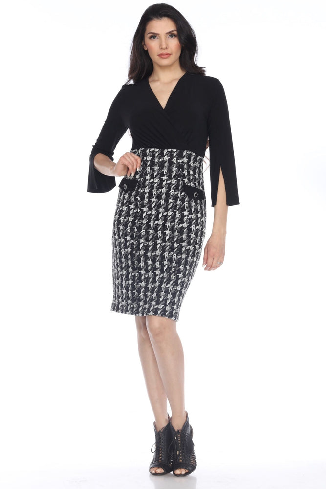 Joseph Ribkoff Style 203243 Black/Off-White 3/4 Sleeve Crosshatch Sheath Dress