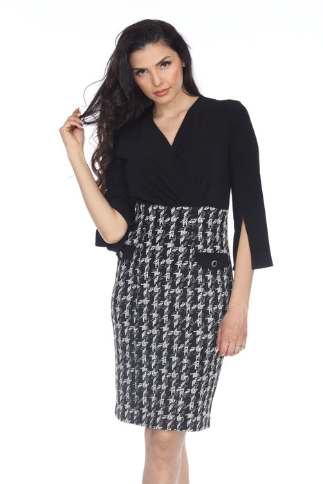 Joseph Ribkoff Black/Off-White 3/4 Sleeve Crosshatch Sheath Dress 203243 NEW