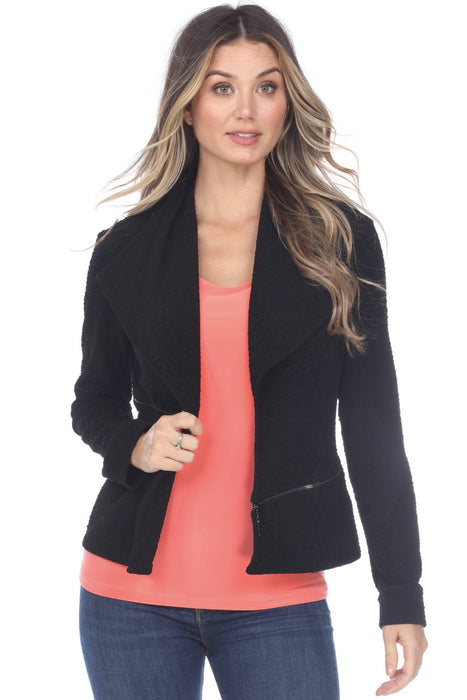 Joseph Ribkoff Style 201161 Black Zipper Accent Textured Open Front Jacket