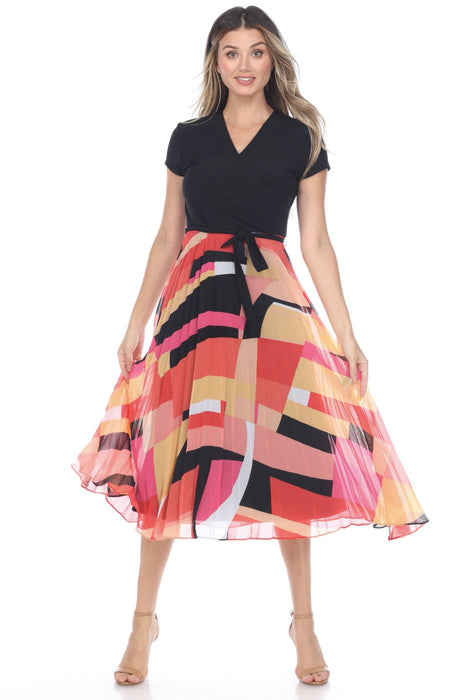 Joseph Ribkoff Style 202438 Black/Pink/Multi Belted Geometric Print Pleated Fit-And-Flare Dress