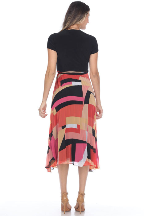 Joseph Ribkoff Black/Pink/Multi Belted Geometric Print Pleated Fit-And-Flare Dress 202438 NEW