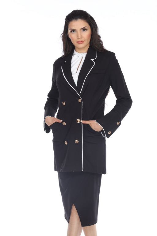 Joseph Ribkoff Style 203578 Black/Vanilla Contrast Trim Double-Breasted Long Jacket