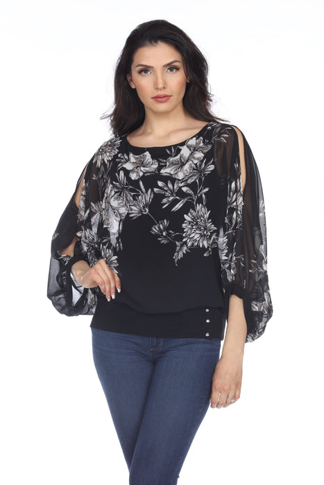 Joseph Ribkoff Style 204382 Black/Vanilla Floral Print Layered Split Sleeve Top