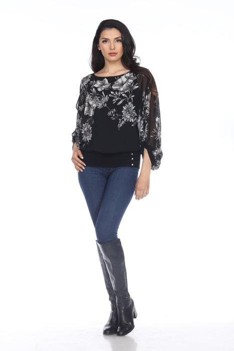 Joseph Ribkoff Black/Vanilla Floral Print Layered Split Sleeve Top 204382 NEW