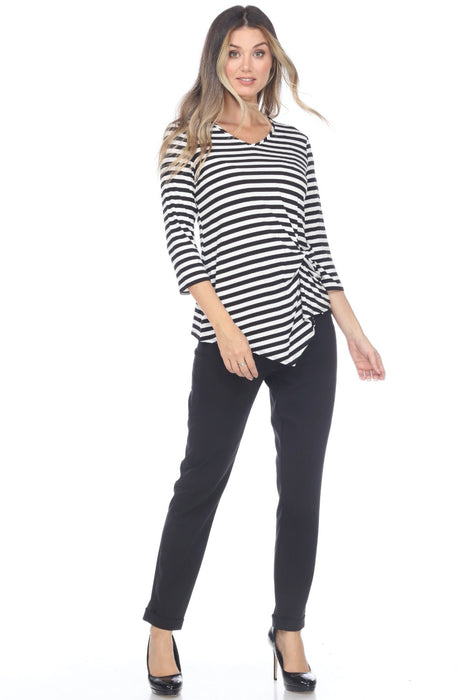 Joseph Ribkoff Black/White Striped 3/4 Sleeve Ruched Asymmetric Tee 201502 NEW