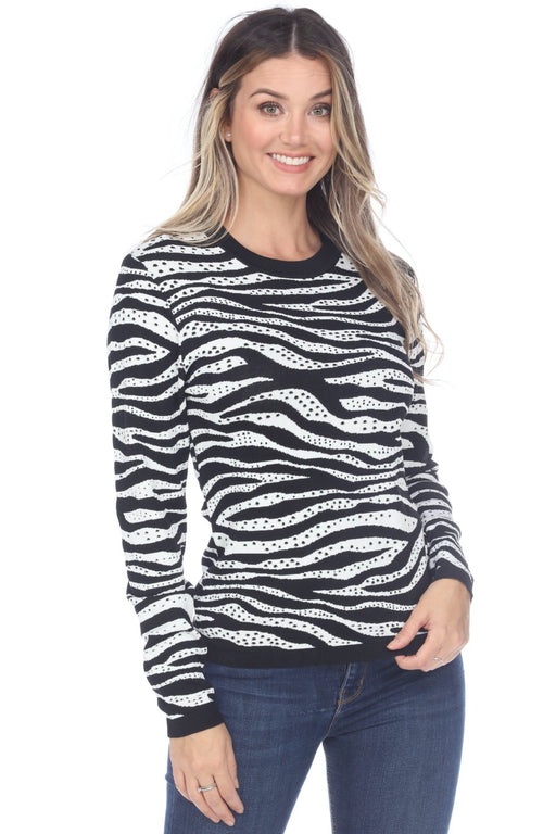 Joseph Ribkoff Style 201180 Black/White Zebra Print Textured Sweater Top
