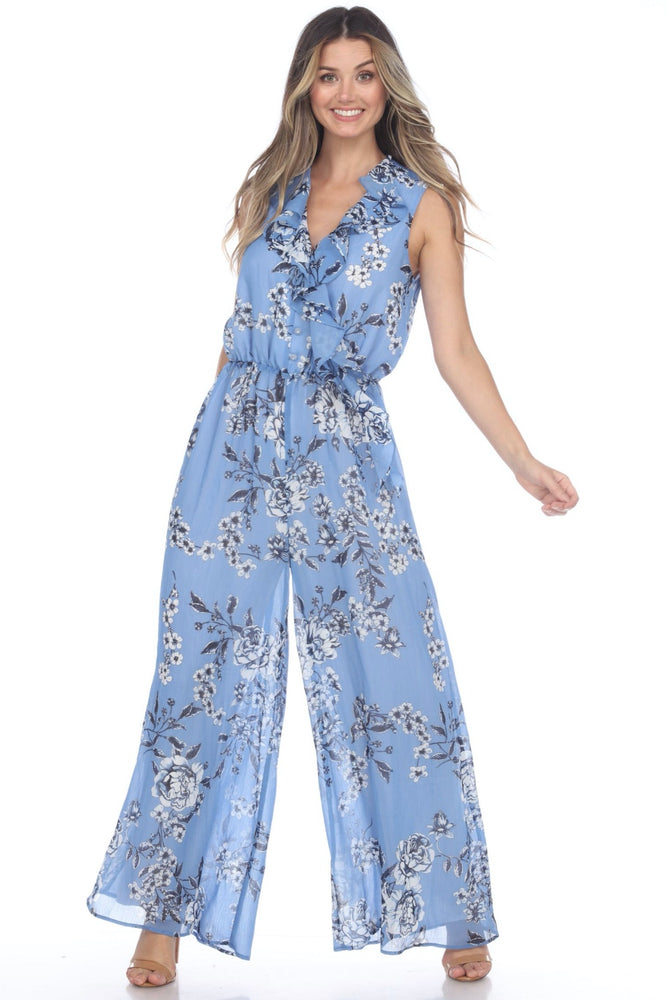 Joseph Ribkoff Style 202205 Blue/Black/White Floral Print Ruffled Neck Wide Leg Jumpsuit