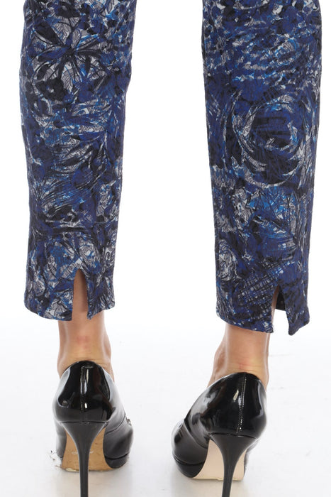 Joseph Ribkoff Blue/Denim Abstract Print Lace Overlay Slip-On Cropped Pants 201510 NEW
