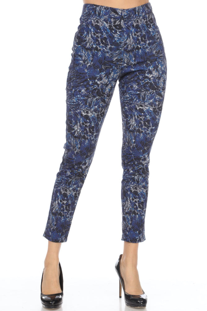 Joseph Ribkoff Style 201510 Blue/Denim Abstract Print Lace Overlay Slip-On Cropped Pants