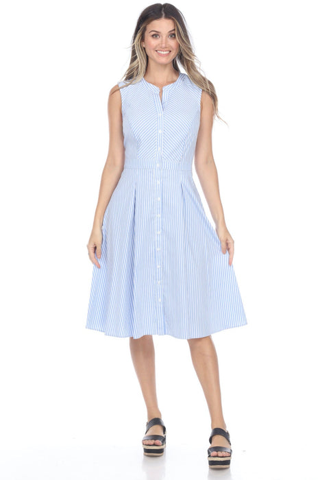 Joseph Ribkoff Style 202399 Blue/White Striped Button-Down Sleeveless A-Line Dress