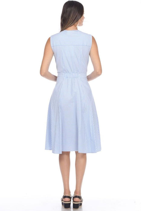 Joseph Ribkoff Blue/White Striped Button-Down Sleeveless A-Line Dress 202399 NEW
