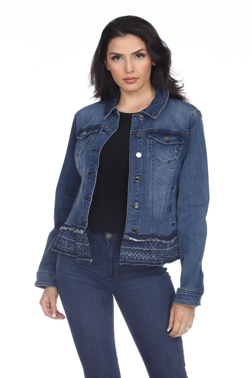 Joseph Ribkoff Style 203105 Blueberry Rhinestone Embellished Button-Down Denim Jacket