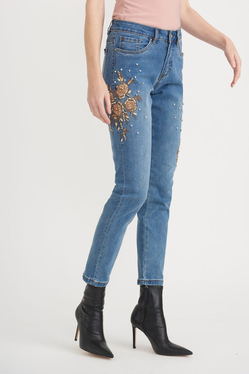 Joseph Ribkoff Style 203055 Denim Medium Blue Embroidered Embellished Cropped Denim Pants
