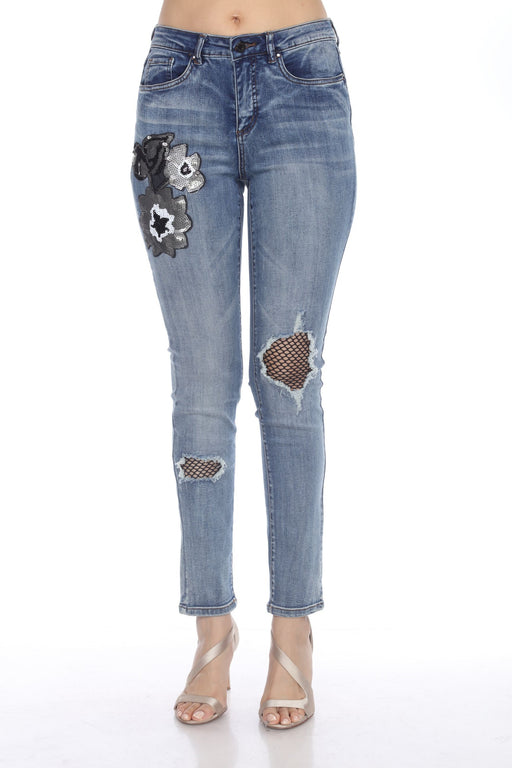Joseph Ribkoff Style 203061 Denim Medium Blue Sequined Floral Fishnet Detail Ripped Jeans