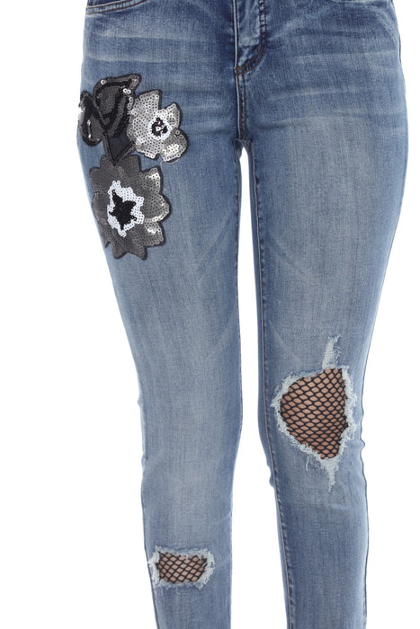 Joseph Ribkoff Denim Medium Blue Sequined Floral Fishnet Detail Ripped Jeans 203061 NEW