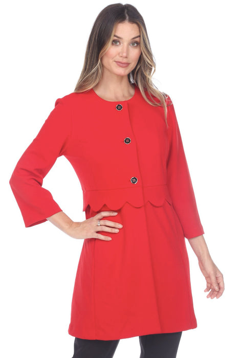 Joseph Ribkoff Style 201312 Lipstick Red Scalloped Waist Button-Down Long Jacket