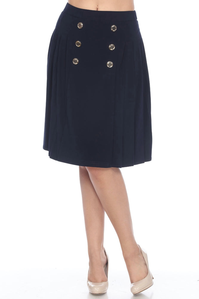 Joseph Ribkoff Style 202275 Midnight Blue Button Accent Pleated Slip-On A-Line Skirt
