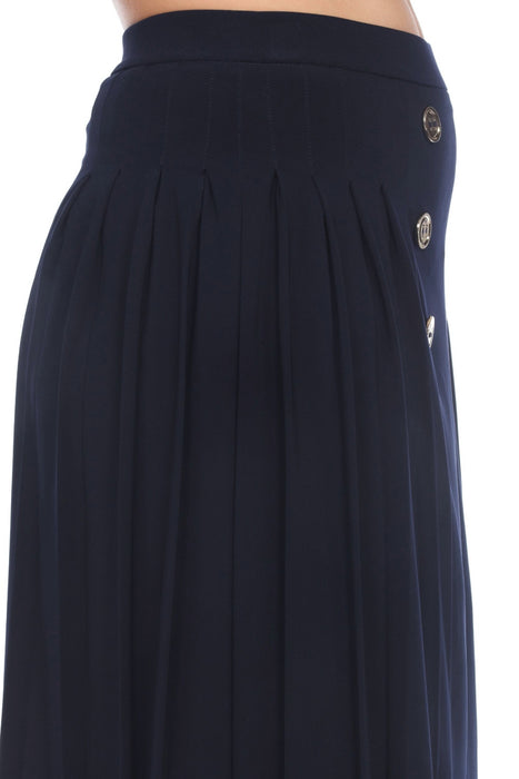 Joseph Ribkoff Midnight Blue Button Accent Pleated Slip-On A-Line Skirt 202275 NEW