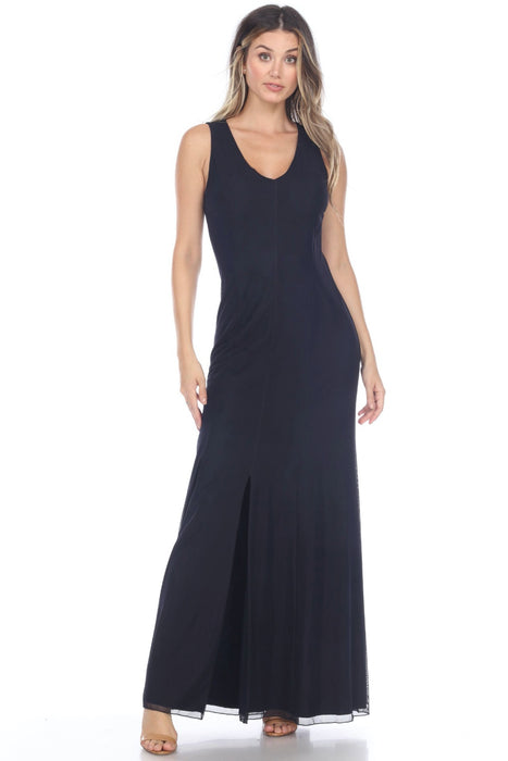 Joseph Ribkoff Style 202314 Midnight Blue Front Slit Sleeveless Maxi Dress