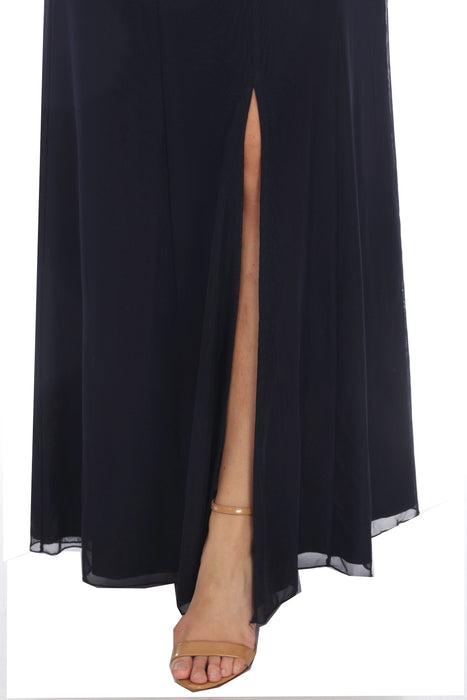 Joseph Ribkoff Midnight Blue Front Slit Sleeveless Maxi Dress 202314 NEW