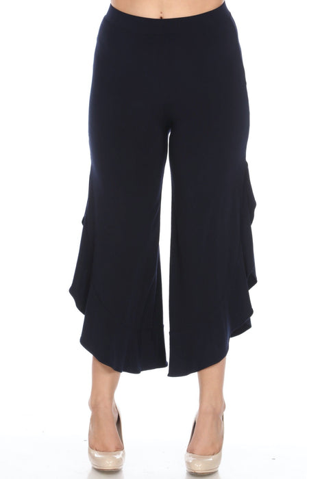 Joseph Ribkoff Style 201101 Midnight Blue Ruffled Side Slit Slip-On Wide Leg Cropped Pants
