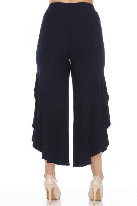 Joseph Ribkoff Ruffled Side Slit Slip-On Wide Leg Cropped Pants 201101 NEW