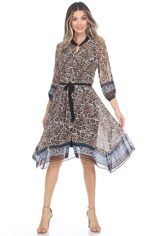 Joseph Ribkoff Style 202366 Multicolor Animal Printed Sheer Overlay Button-Down Two-Piece Dress
