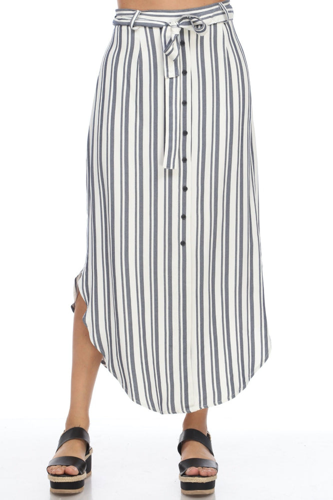 Joseph Ribkoff Off-White/Blue Striped Belted Midi Skirt 202396 NEW