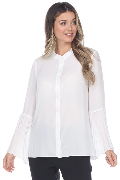 Joseph Ribkoff Style 201322 Off-White Pleated Bell Sleeve Button-Down Top