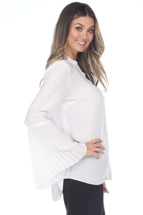 Joseph Ribkoff Off-White Pleated Bell Sleeve Button-Down Semi-Sheer Top 201322 NEW
