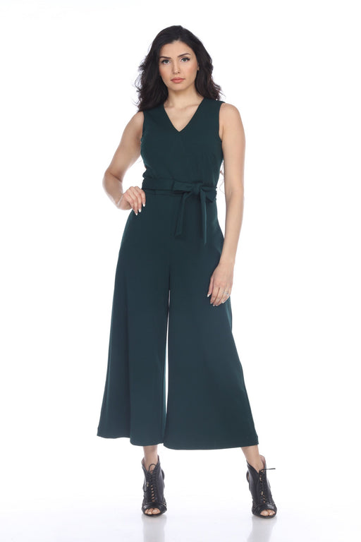 Joseph Ribkoff Style 203352 Pine Green Belted Sleeveless Cropped Jumpsuit