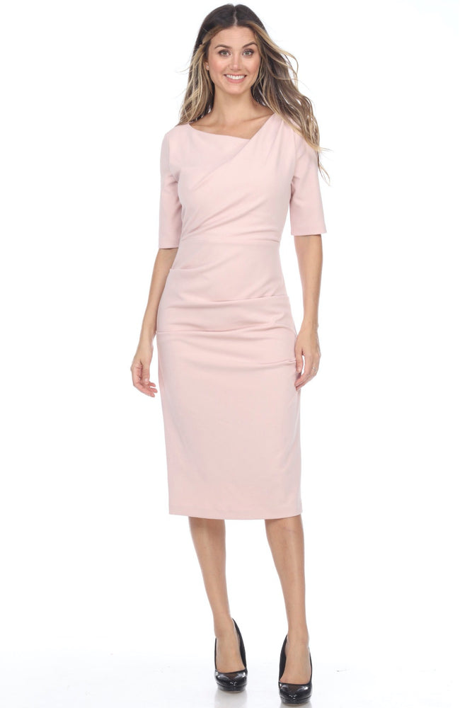 Joseph Ribkoff Style 201500 Rose Asymmetric Neck Ruched Pleated Sheath Dress