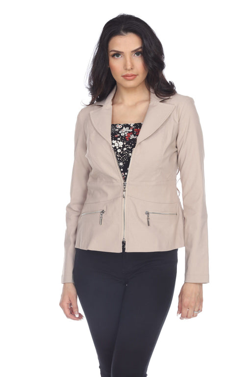Joseph Ribkoff Style 203186 Sand Long Sleeve Zip-Up Jacket
