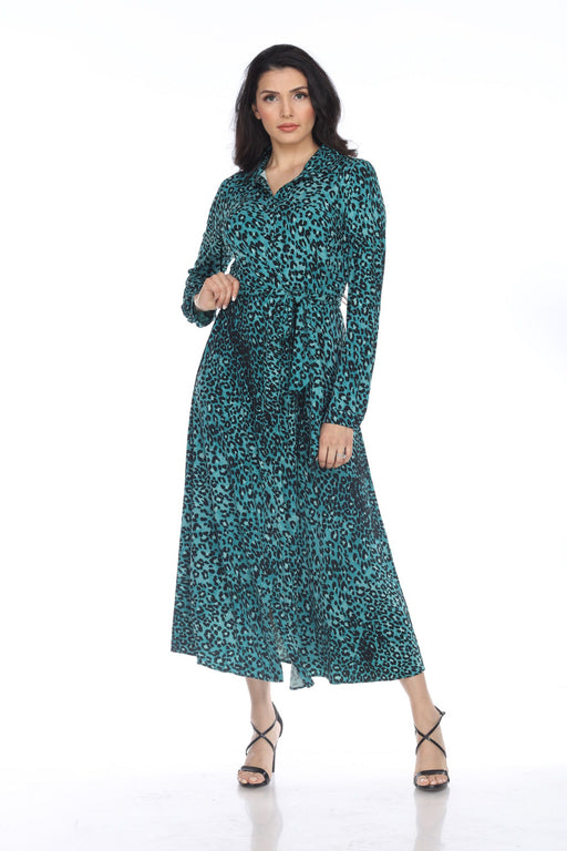 Joseph Ribkoff Style 204034 Teal/Black Animal Print Button-Down Belted Midi Dress