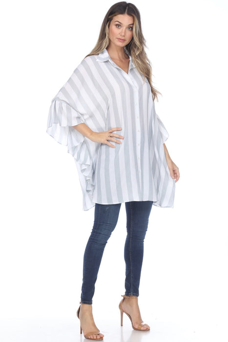 Joseph Ribkoff Vanilla/Indigo Striped Button-Down Poncho Top 202040 NEW