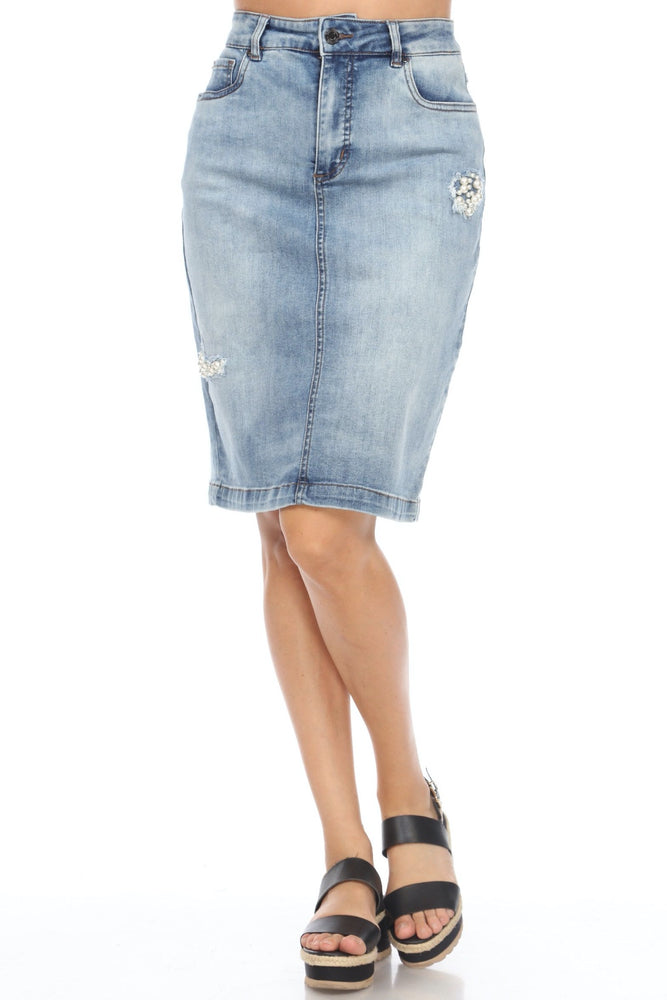 Joseph Ribkoff Style 201887 Vintage Blue Pearl Accent High-Waist Denim Skirt