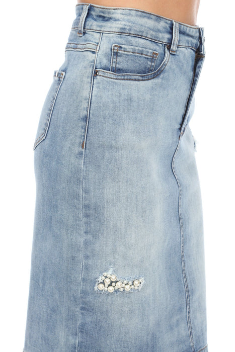 Joseph Ribkoff Vintage Blue Pearl Accent High-Waist Denim Skirt 201887 NEW