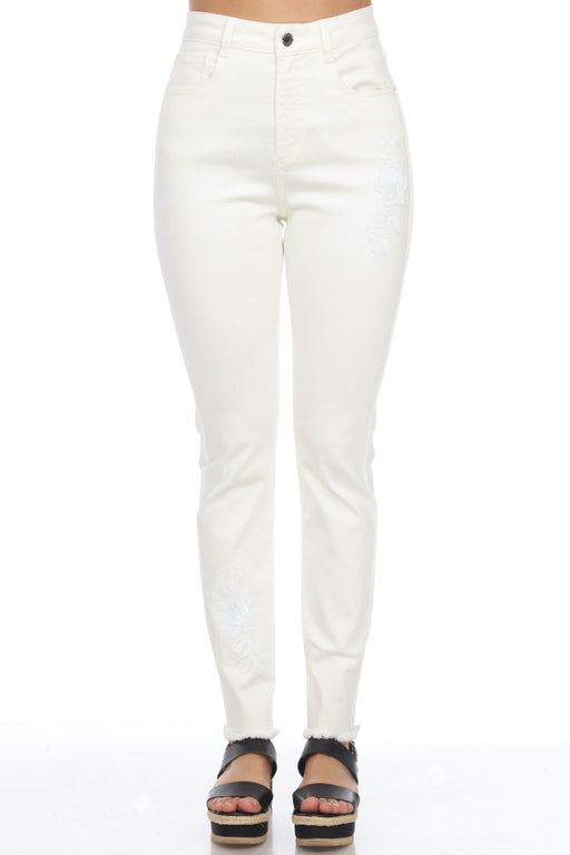 Joseph Ribkoff Style 202342 White Floral Sequin Accent Denim Pants