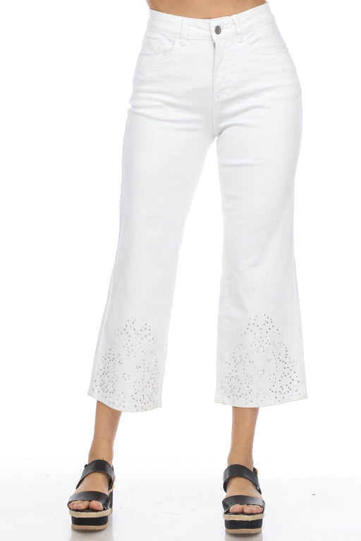 Joseph Ribkoff Style 201880 White Floral Embroidered Jewel Accent Cropped Bootleg Denim Pants