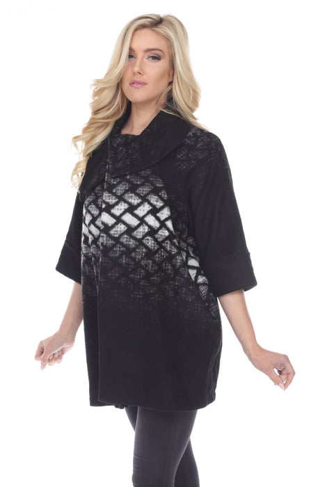 Joseph Ribkoff Black/Grey/White Crosshatch 3/4 Sleeve Coat 174390 NEW