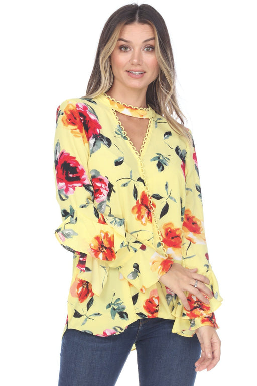 Joseph Ribkoff Style 202185 Multi/Yellow Floral Print Oversized High-Low Blouse