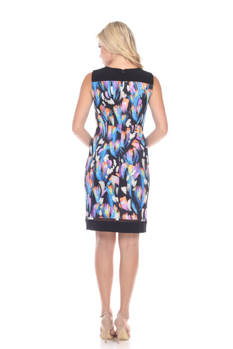 Joseph Ribkoff Black/Multi Abstract Print Sleeveless Sheath Dress 191749 NEW