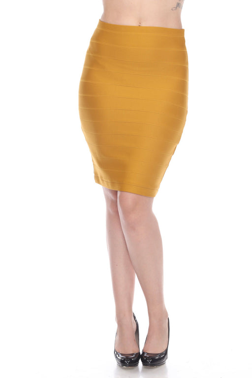 Joseph Ribkoff Style 32330H Aspen Gold Slip-On Knee-Length Bandage Skirt
