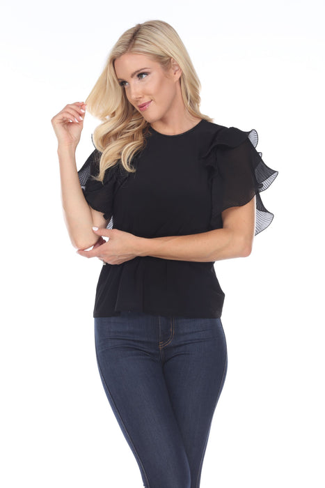 Joseph Ribkoff Black Round Neck Sheer Pleated Ruffle Sleeve Top 202136 NEW