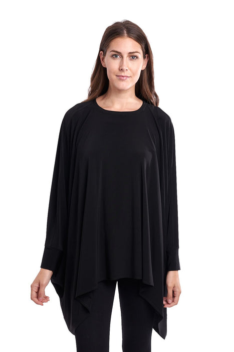Joseph Ribkoff Style 193075 Black Oversized Kerchief Hem Tunic Top