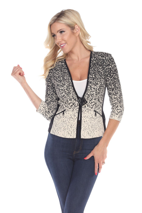 Joseph Ribkoff Beige/Black Graphic Print 3/4 Sleeve Blazer Jacket 163896 NEW