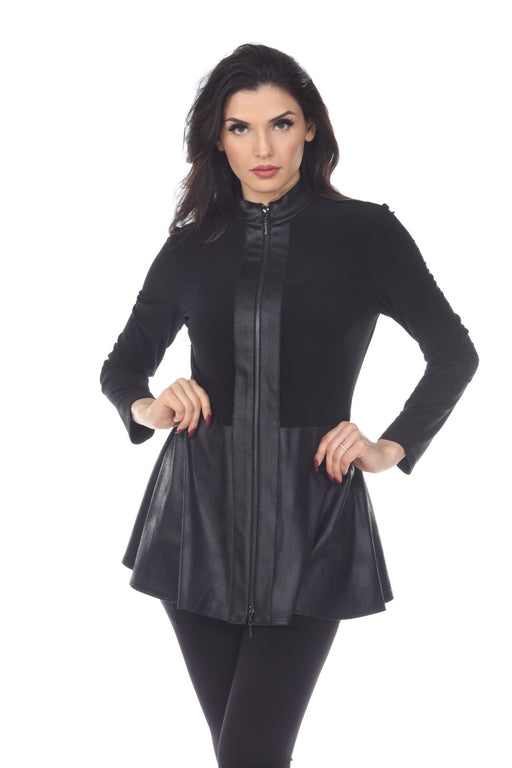 Joseph Ribkoff Black Leather Trim Zip-Up Peplum Jacket 194598 NEW
