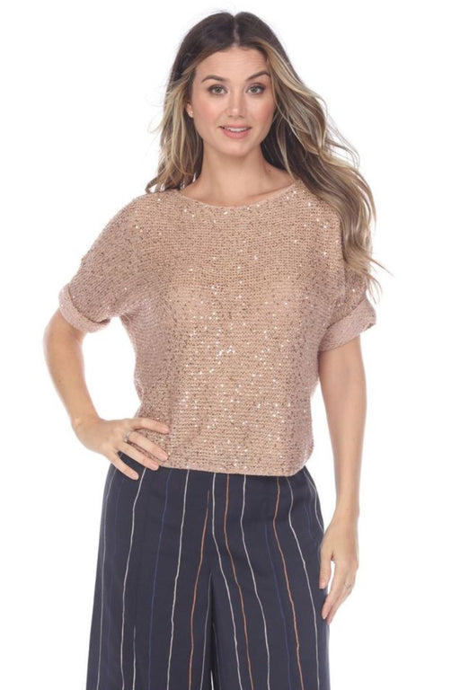 NIC+ZOE Style M201165 Soft Copper Stargazing Sequined Short Sleeve Sweater Top